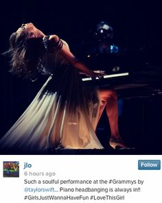 JLo posted this about Taylor at the Grammys!