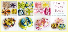 How to Make Bows: Twisted Boutique, Pinwheel, Surround Loops - and how to stack… Diy Hair Bows, Diy Bow, Diy Ribbon, Ribbon Crafts, Ribbon Bows, Ribbons, Fabric Bows, Fabric Flowers, Ribbon Retreat