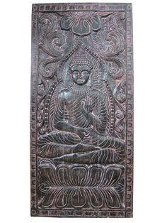 Interior Door Panel Teaching Buddha Carved wood Wall Panels