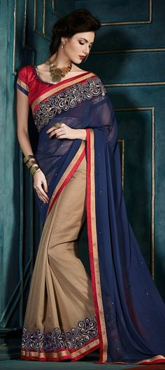163442 Beige and Brown, Blue  color family Embroidered Sarees, Party Wear Sarees in Georgette fabric with Machine Embroidery, Patch, Stone work   with matching unstitched blouse.