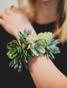 DIY Succulent Wrist Cuff | What a great idea for wedding corsages!