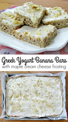 Greek Yogurt Banana Bars with Maple Cream Cheese Frosting - a delicious recipe to use up ripe bananas for dessert! | chicagojogger.com