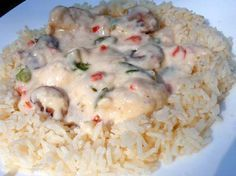 CHICKEN ALA KING ON RICE. Sounds good!
