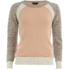 Grey colour block jumper (€25) ❤ liked on Polyvore featuring tops, sweaters, shirts, jumpers, long sleeves, grey, crew neck shirt, grey knit sweater, long sleeve shirts and long sleeve knit shirt