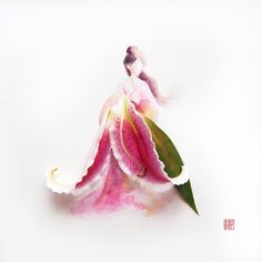 """Malaysian artist Lim Zhi Wei has created this beautiful watercolor illustration series titled """"Flowergirls"""" depicting elegant girls wearing lovely dresses made of real flowers…"""
