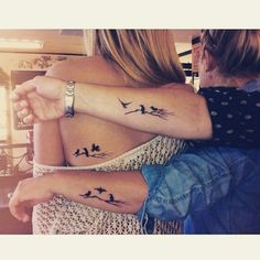 Aunt, mother, and daughter tattoo. Each one is a different bird flying away. #tattoo #tattoos #l - littletattoos