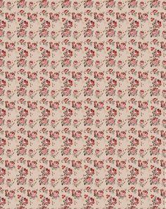 Papier beige avec petites roses rouges