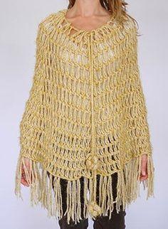 Vintage 1970s gold crochet poncho