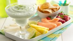 Make this quick and easy party-pleasing dip with Yoplait® Light margarita yogurt--perfect with sweet or salty dippers!