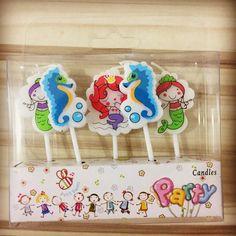 5PCS/set Little Mermaid Birthday Craft Candles