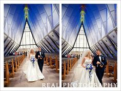 Air Force Academy chapel wedding USAFA bride and groom ceremony recessional