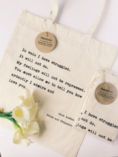 pride and prejudice quote tote bag jane austen book bag screen printed pride