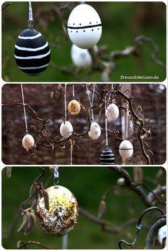 DIY Ostereier zur Dekoration, ausgefallene Ostereier in schwarz, weiß, gold