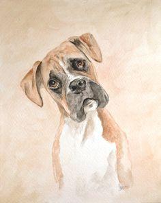Original Boxer Watercolor Painting 8x10 by landonart. Explore more products on http://landonart.etsy.com