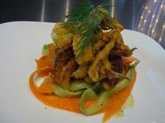 Crispy Pepper Salt Squid on Cucumber Salad