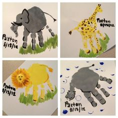 Little mans handprints (elephant, giraffe, lion, and hippo!)