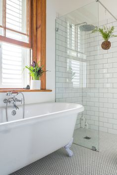 They cleverly converted what was originally a bedroom into this main bathroom, a walk-through cupboard and a guest bathroom. The bath is from Victorian Bathrooms. Bathroom Design Small, Bathroom Interior Design, Modern Bathroom, Bathroom Designs, White Bathroom, Budget Bathroom Remodel, Bathroom Renovations, Decorating Bathrooms, Shower Remodel