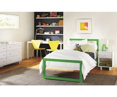 Kids - Room & Board - like the painted wall behind shelves and simplicity of bed and bedding