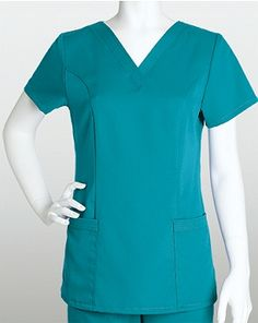 Grey's Anatomy Scrubs 71139 Missy Fit 2 Pocket V-Neck Top Greys Anatomy Scrubs, Medical Scrubs, Princess Seam, V Neck Tops, Short Sleeves, Tunic Tops, Pocket, Grey's Anatomy, Collection