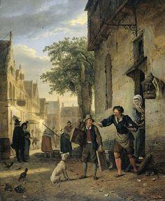Jan Steen stuurt zijn zoon de straat op om schilderijen te ruilen voor bier en wijn, Ignatius Josephus Van Regemorter, 1828
