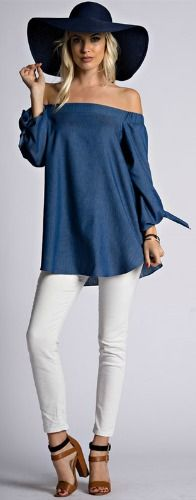 Denim Off the Shoulder Top with Tie Sleeves