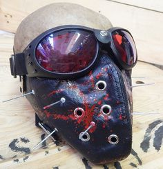 2 pc. Black Faux Leather set w/Red Blood Spatter and Long 'SLIPKNOT' Style Spikes Steampunk Dust Riding Mask with Goggles - Burning Man Mask by jadedminx on Etsy
