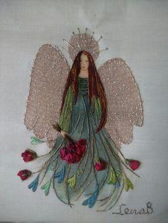 Lena's ängel. Sidenbandsbroderi