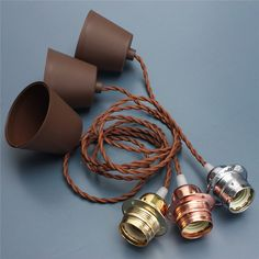 E27 / E26 1 M aluminio Retro Vintage del techo de luz colgante bombilla titular Socket Kit 110 - 240 V Rose oro oro plata