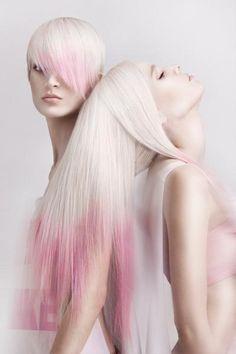 pink tipped platinum blonde hair