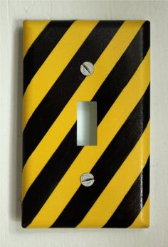 Construction Site CAUTION TAPE Light Switch Plate Cover. $9.00, via Etsy.