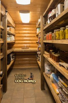 Log Home By, Golden Eagle Log Homes - Pantry with Recycled Barnwood Shelves