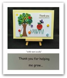 Apple thank you card for a teacher with text inside made by Quilled Creations by Me.