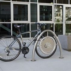Korkat, Inc. :: Arch Bike Rack in Stainless Steel with Standard Medallion
