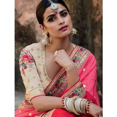 Pink and Cream Silk Saree with Embroidery Work
