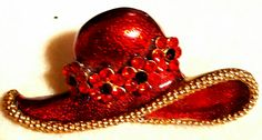 From the Carol Lynn Sweets vintage jewelry collection...1980s enamel red hat brooch with rhinestones... $29.00 .please check out and Like Carol Lynn Sweets jewelry on fb