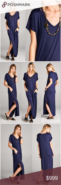 🔹Coming Soon🔹 Navy Cut-out Shoulder V-Neck Maxi Navy Blue, v-neck, cut-out shoulder, pocket maxi.   **Model is wearing size small.   Measurements will be listed once item arrives.   Price will not exceed $42  OSHC11271374 Dresses Maxi