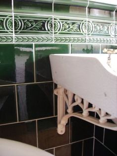 Green tile bathroom at Pickford House Georgian Museum in Derby, England
