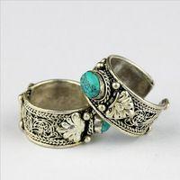 Népal inde tibet miao millésime argent antique turquoise gem incrusté fil unisexe ouvrir anneau antique amulette ethnique exotique gypsy boho