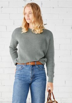 Miann & Co Womens - Margot Rib Jumper - Sage Knit Pants, Maternity Wear, Casual Street Style, Baby Month By Month, Rib Knit, Womens Knitwear, Jumper, Organic Cotton, Long Sleeve
