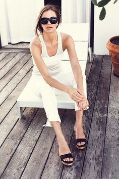Summer look. White top and jeans. Emerson Fry Spring 2014
