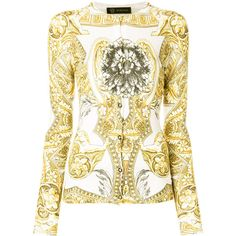 Versace signature print cardigan (€1.045) ❤ liked on Polyvore featuring tops, cardigans, silk top, patterned tops, white silk top, versace top and white cardigan