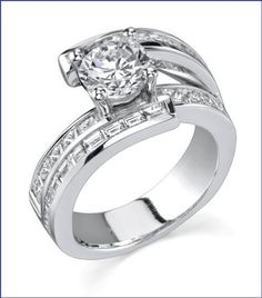 Gregorio 18K White Gold Diamond Engagement Band (PR 0.90ct and BGT 0.80ct, G-H Color, VS-SI Clarity)  Price : $6,800.00 http://www.blountjewels.com/Gregorio-Diamond-Engagement-0-90ct-Clarity/dp/B009RWWSCK