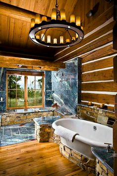 Moder Log Home Bathrooms Design Ideas, Pictures, Remodel, and Decor - page 36 Rustic Bathrooms, Dream Bathrooms, Beautiful Bathrooms, Coolest Bathrooms, Log Cabin Bathrooms, Log Cabin Homes, Log Cabins, Rustic Cabins, Design Case
