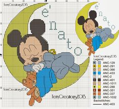 schema punto croce topolino e minnie sulla luna | Hobby lavori femminili - ricamo - uncinetto - maglia Xmas Cross Stitch, Cross Stitch For Kids, Cross Stitch Alphabet, Cross Stitch Baby, Cross Stitch Charts, Cross Stitching, Cross Stitch Embroidery, Embroidery Patterns, Hand Embroidery