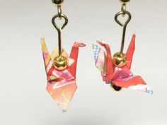 Origami Crane Earrings  Red Pink Fan & by OrigamiTreasure on Etsy
