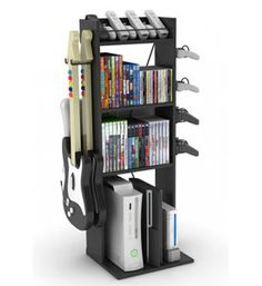 Keep your living room from being cluttered with gaming equipment when you have the Game Central Video Game Organizer