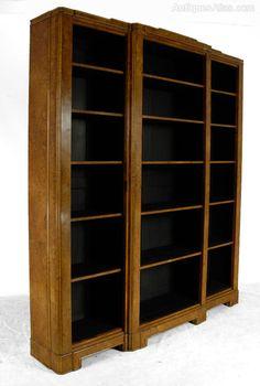 Art Deco Burr Walnut Tall Breakfront Open Bookcase