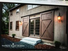 exterior barn door designs traditional exterior sliding barn doors are the perfect feature for a barn style home exterior barn door lock ideas Porte Design, Door Design, Exterior Sliding Barn Doors, Sliding Doors, Garage Doors, Yankee Barn Homes, Barn House Design, Haus Am See, Barn Renovation