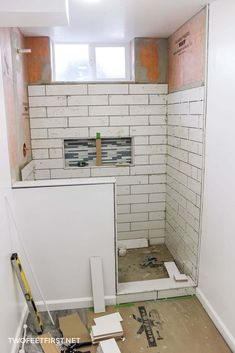 Are you thinking about tiling your shower? I am sharing my experience of tiling a shower for the first time. See the process, what I would do differently, and additional tips! Remodled Bathrooms, Bathroom Red, Bathroom Ideas, Basement Bathroom, Shower Ideas, Washroom, Bathroom Vanities, Showers For Small Bathrooms, Master Bathroom