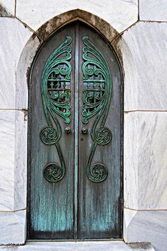 The high contrast between the door and the stone around it keeps the eye from wandering. The Gothic arch shape and reflected metalwork on both sides of the door make for a very balanced piece of architecture. Cool Doors, The Doors, Unique Doors, Entry Doors, Windows And Doors, Entrance, Knobs And Knockers, Door Knobs, Portal
